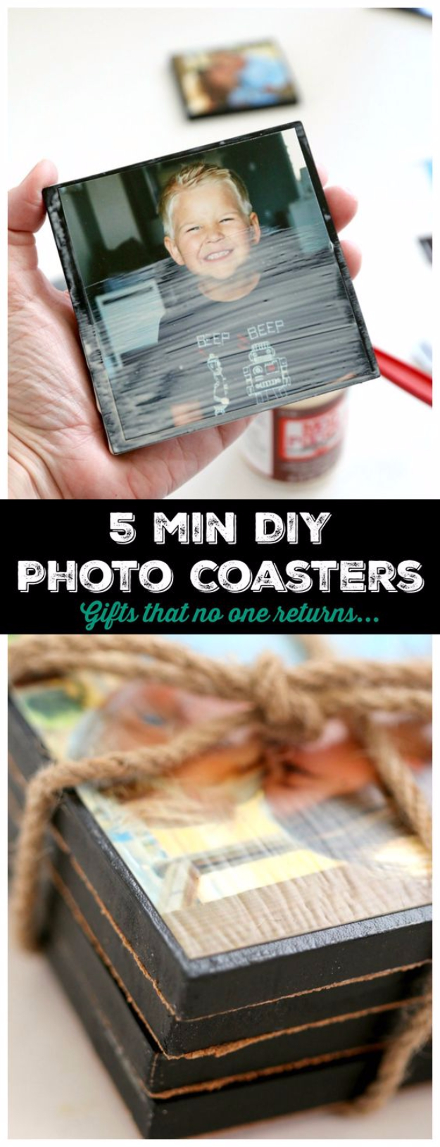 DIY Photo Crafts and Projects for Pictures - 5 Minute DIY Photo Coasters - Handmade Picture Frame Ideas and Step by Step Tutorials for Making Cool DIY Gifts and Home Decor - Cheap and Easy Photo Frames, Creative Ways to Frame and Mount Photos on Canvas and Display Them In Your House
