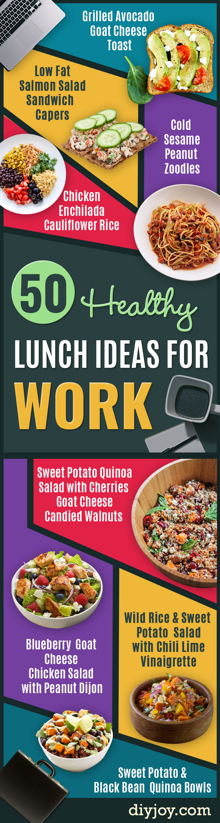 Healthy Lunch Ideas for Work - Quick and Easy Recipes You Can Pack for Lunches at the Office - Lowfat and Simple Ideas for Eating on the Job - Microwave, No Heat, Mason Jar Salads, Sandwiches, Wraps, Soups and Bowls