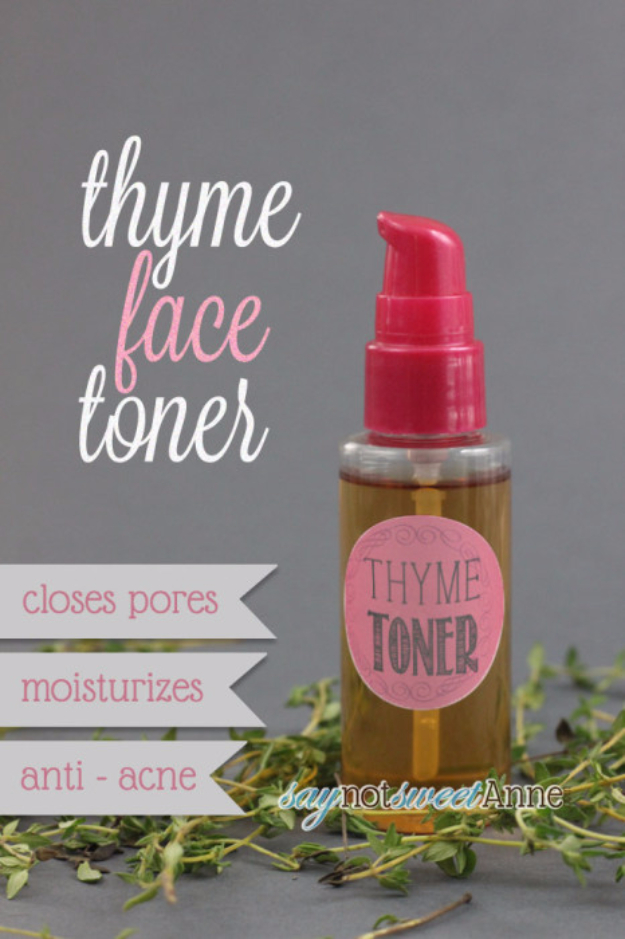 DIY Beauty Ideas and Recipes for Products You Can Make At Home - Acne Fighting Thyme Toner - Easy Tutorials and Recipe Ideas for Face, Skin, Hair, Makeup, Lips - 3 Ingredient, Coconut Oil, Cheap Knock Offs, Baking Soda and Natural Product - Cool Homemade Gifts for Teens and Women