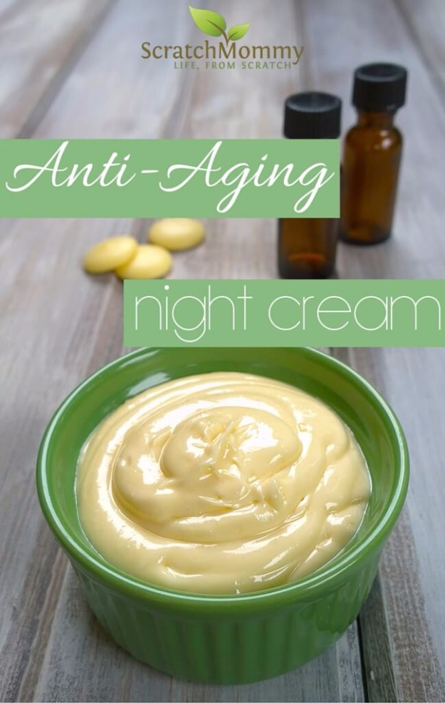 DIY Beauty Ideas and Recipes for Products You Can Make At Home - Anti-Aging Night Cream - Easy Tutorials and Recipe Ideas for Face, Skin, Hair, Makeup, Lips - 3 Ingredient, Coconut Oil, Cheap Knock Offs, Baking Soda and Natural Product - Cool Homemade Gifts for Teens and Women