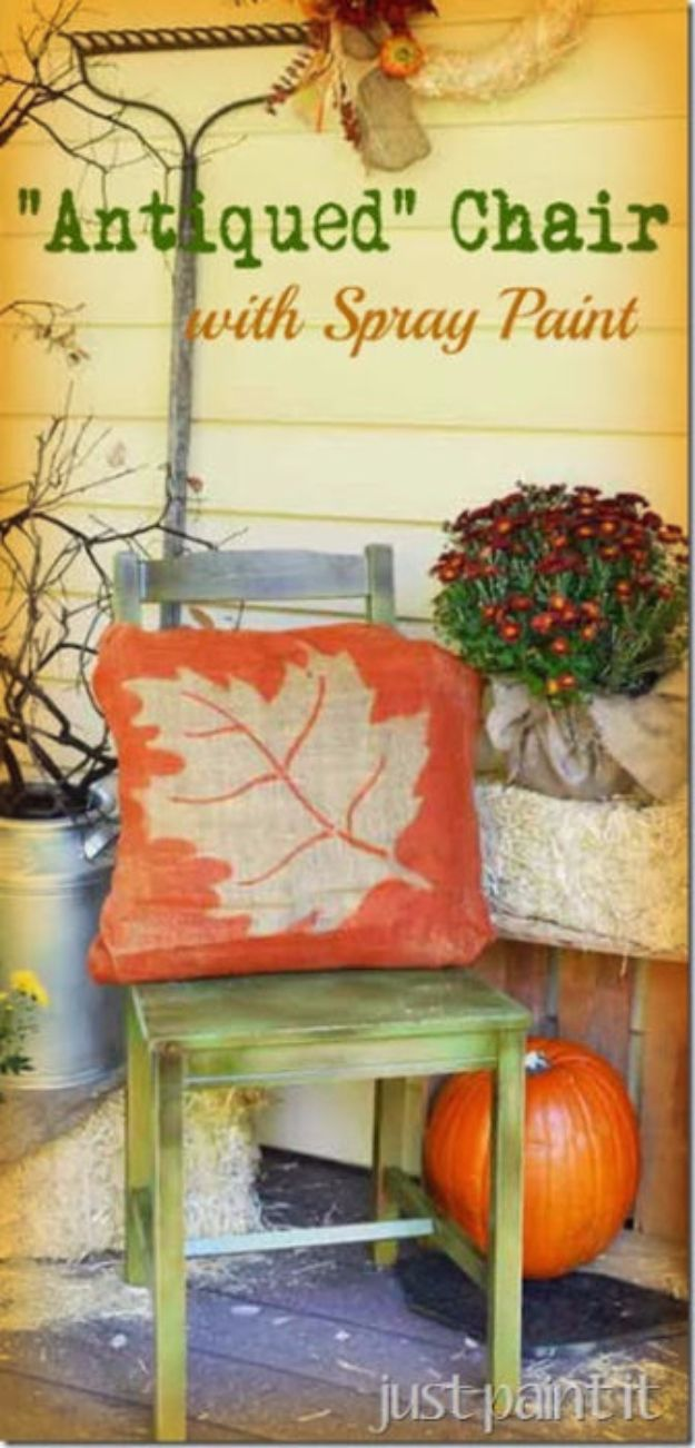 Spray Painting Tips and Tricks - Antiqued Chair with Spray Paint - Home Improvement Ideas and Tutorials for Spray Painting Furniture, House, Doors, Trim, Windows and Walls - Step by Step Tutorials and Best How To Instructions - DIY Projects and Crafts by DIY JOY #diyideas