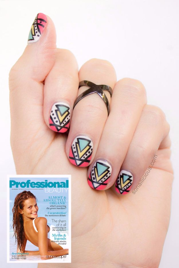 Quick Nail Art Ideas - Aztec Nail Art - Easy Step by Step Nail Designs With Tutorials and Instructions - Simple Photos Show You How To Get A Perfect Manicure at Home - Cool Beauty Tips and Tricks for Women and Teens