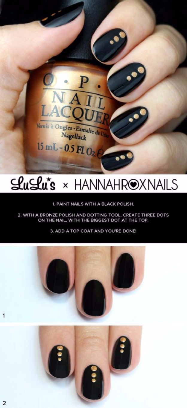 Quick Nail Art Ideas - Black And Gold Dotted Nail - Easy Step by Step Nail Designs With Tutorials and Instructions - Simple Photos Show You How To Get A Perfect Manicure at Home - Cool Beauty Tips and Tricks for Women and Teens