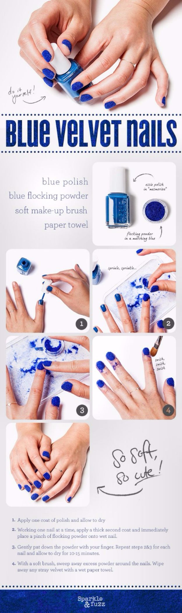 Quick Nail Art Ideas - Blue Velvet Nails - Easy Step by Step Nail Designs With Tutorials and Instructions - Simple Photos Show You How To Get A Perfect Manicure at Home - Cool Beauty Tips and Tricks for Women and Teens