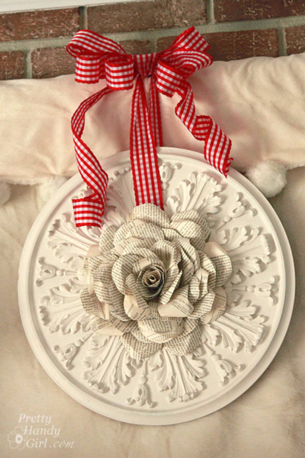 DIY Projects Made With Old Books - Book Page Rose Wreath - Make DIY Gifts, Crafts and Home Decor With Old Book Pages and Hardcover and Paperbacks - Easy Shelving, Decorations, Wall Art and Centerpieces with BOOKS