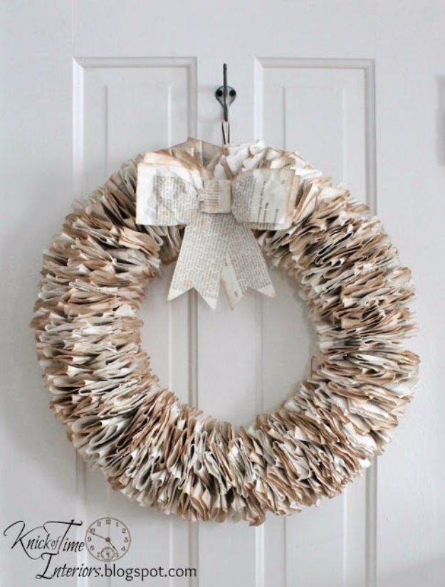 DIY Projects Made With Old Books - Book Page Wreath - Make DIY Gifts, Crafts and Home Decor With Old Book Pages and Hardcover and Paperbacks - Easy Shelving, Decorations, Wall Art and Centerpices with BOOKS http://diyjoy.com/diy-projects-old-books