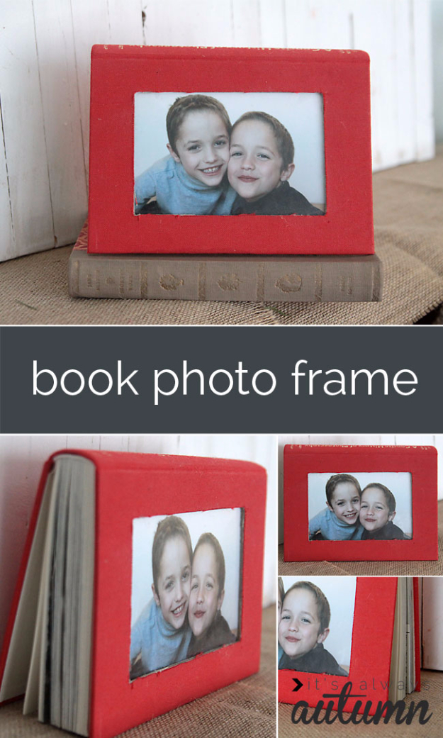 DIY Projects Made With Old Books - Book Photo Frame - Make DIY Gifts, Crafts and Home Decor With Old Book Pages and Hardcover and Paperbacks - Easy Shelving, Decorations, Wall Art and Centerpices with BOOKS http://diyjoy.com/diy-projects-old-books