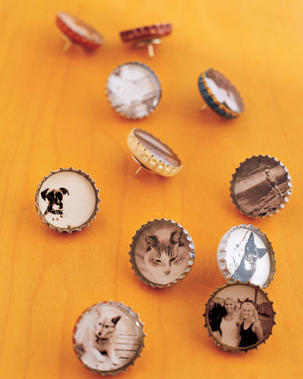DIY Photo Crafts and Projects for Pictures - Bottle-Cap Magnets and Thumbtacks - Handmade Picture Frame Ideas and Step by Step Tutorials for Making Cool DIY Gifts and Home Decor - Cheap and Easy Photo Frames, Creative Ways to Frame and Mount Photos on Canvas and Display Them In Your House http://diyjoy.com/handmade-photo-crafts
