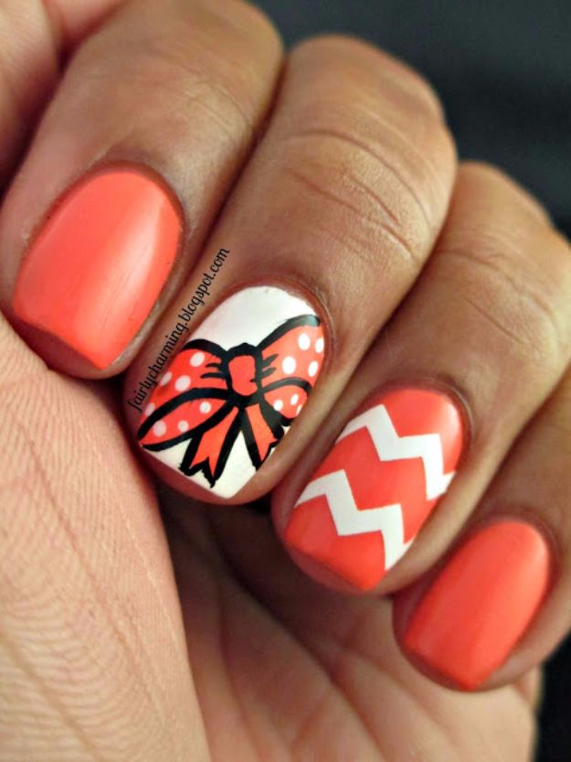 Quick Nail Art Ideas - Bow Mani Nail Art - Easy Step by Step Nail Designs With Tutorials and Instructions - Simple Photos Show You How To Get A Perfect Manicure at Home - Cool Beauty Tips and Tricks for Women and Teens