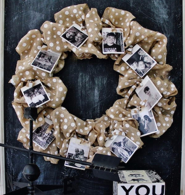 DIY Photo Crafts and Projects for Pictures - Burlap Photo Wreath - Handmade Picture Frame Ideas and Step by Step Tutorials for Making Cool DIY Gifts and Home Decor - Cheap and Easy Photo Frames, Creative Ways to Frame and Mount Photos on Canvas and Display Them In Your House http://diyjoy.com/handmade-photo-crafts