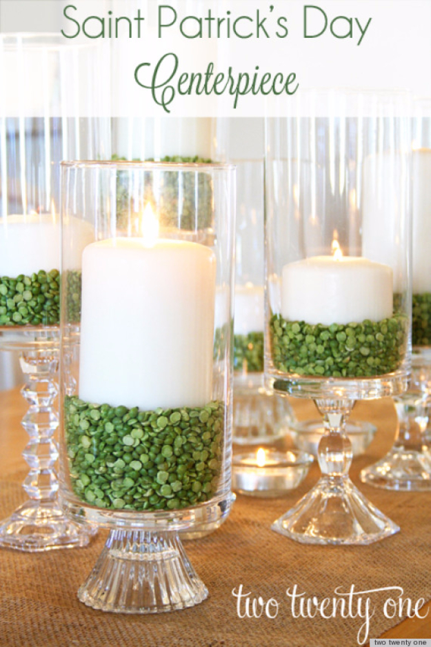 DIY St Patricks Day Ideas - Candle Centerpiece With Green Split Peas - Food and Best Recipes, Decorations and Home Decor, Party Ideas - Cupcakes, Drinks, Festive St Patrick Day Parties With these Easy, Quick and Cool Crafts and DIY Projects http://diyjoy.com/st-patricks-day-ideas