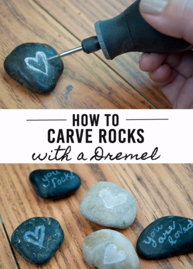 Pebble and Stone Crafts - Carved Rocks - DIY Ideas Using Rocks, Stones and Pebble Art - Mosaics, Craft Projects, Home Decor, Furniture and DIY Gifts You Can Make On A Budget #crafts