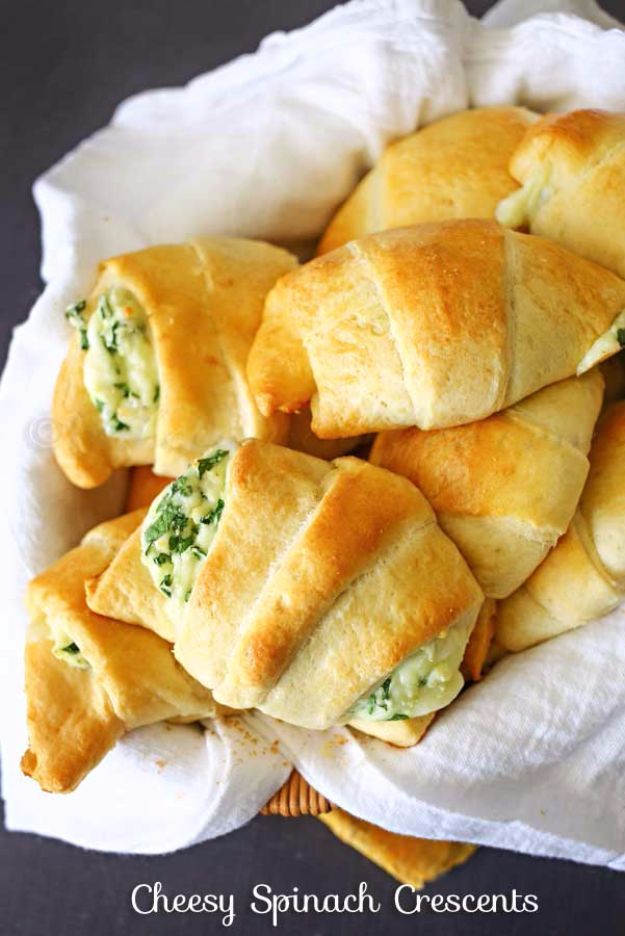 Best Crescent Roll Recipes - Cheesy Spinach Crescents - Easy Homemade Dinner Recipe Ideas With Cresent Rolls, Breakfast, Snack, Appetizers and Dessert - With Chicken and Ground Beef, Hot Dogs, Pizza, Garlic Taco, Sweet Desserts - DIY Projects and Crafts by DIY JOY http://diyjoy.com/crescent-roll-recipes