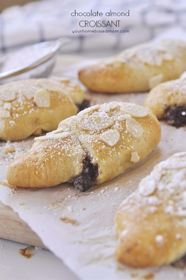Best Crescent Roll Recipes - Chocolate Almond Croissant - Easy Homemade Dinner Recipe Ideas With Cresent Rolls, Breakfast, Snack, Appetizers and Dessert - With Chicken and Ground Beef, Hot Dogs, Pizza, Garlic Taco, Sweet Desserts - DIY Projects and Crafts by DIY JOY http://diyjoy.com/crescent-roll-recipes