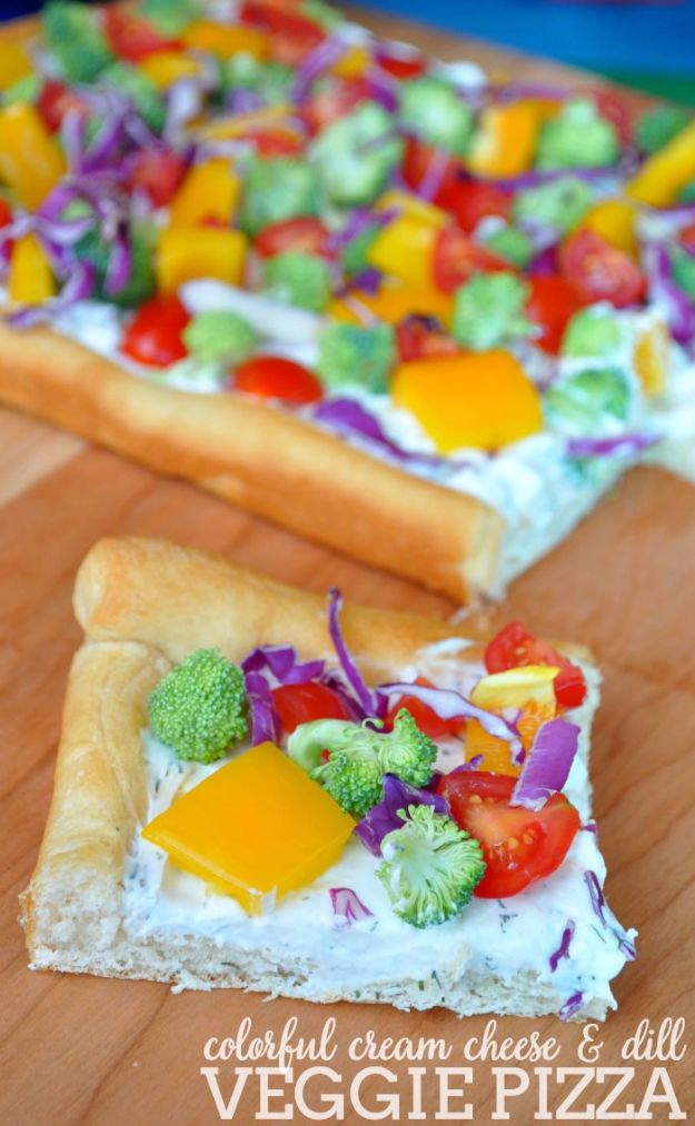 Best Crescent Roll Recipes - Cream Cheese And Dill Veggie Pizza - Easy Homemade Dinner Recipe Ideas With Cresent Rolls, Breakfast, Snack, Appetizers and Dessert - With Chicken and Ground Beef, Hot Dogs, Pizza, Garlic Taco, Sweet Desserts - DIY Projects and Crafts by DIY JOY http://diyjoy.com/crescent-roll-recipes