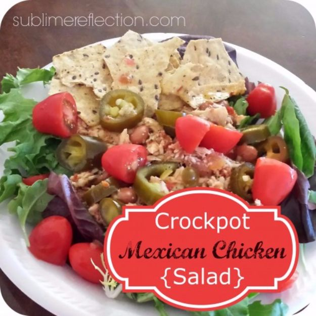 Healthy Crockpot Recipes to Make and Freeze Ahead - Crock Pot Mexican Chicken Salad - Easy and Quick Dinners, Soups, Sides You Make Put In The Freezer for Simple Last Minute Cooking - Low Fat Chicken, Veggies, Stews, Vegetable Sides and Beef Meals for Your Slow Cooker and Crock Pot http://diyjoy.com/healthy-crockpot-recipes