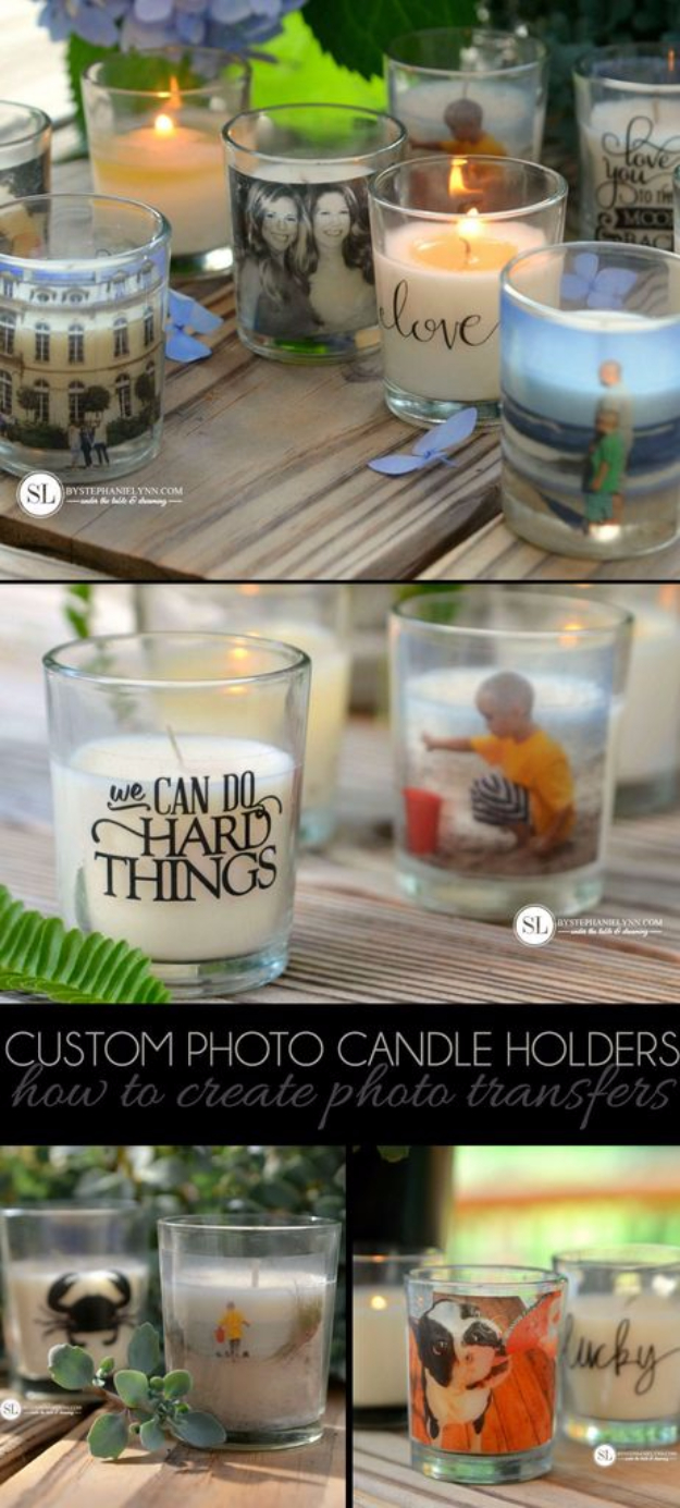 DIY Photo Crafts and Projects for Pictures - Custom Photo Candle Holders - Handmade Picture Frame Ideas and Step by Step Tutorials for Making Cool DIY Gifts and Home Decor - Cheap and Easy Photo Frames, Creative Ways to Frame and Mount Photos on Canvas and Display Them In Your House http://diyjoy.com/handmade-photo-crafts