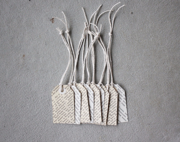 DIY Projects Made With Old Books - DIY Book Page Tags - Make DIY Gifts, Crafts and Home Decor With Old Book Pages and Hardcover and Paperbacks - Easy Shelving, Decorations, Wall Art and Centerpices with BOOKS http://diyjoy.com/diy-projects-old-books