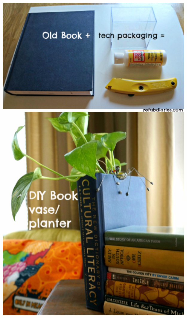 DIY Projects Made With Old Books - DIY Book Vase Planter - Make DIY Gifts, Crafts and Home Decor With Old Book Pages and Hardcover and Paperbacks - Easy Shelving, Decorations, Wall Art and Centerpices with BOOKS http://diyjoy.com/diy-projects-old-books