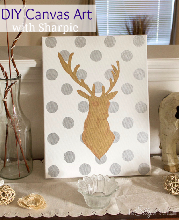 DIY Sharpie Crafts - DIY Canvas Art With Sharpie - Cool and Easy Craft Projects and DIY Ideas Using Sharpies - Use Markers To Decorate and Design Home Decor, Cool Homemade Gifts, T-Shirts, Shoes and Wall Art. Creative Project Tutorials for Teens, Kids and Adults http://diyjoy.com/diy-sharpie-crafts