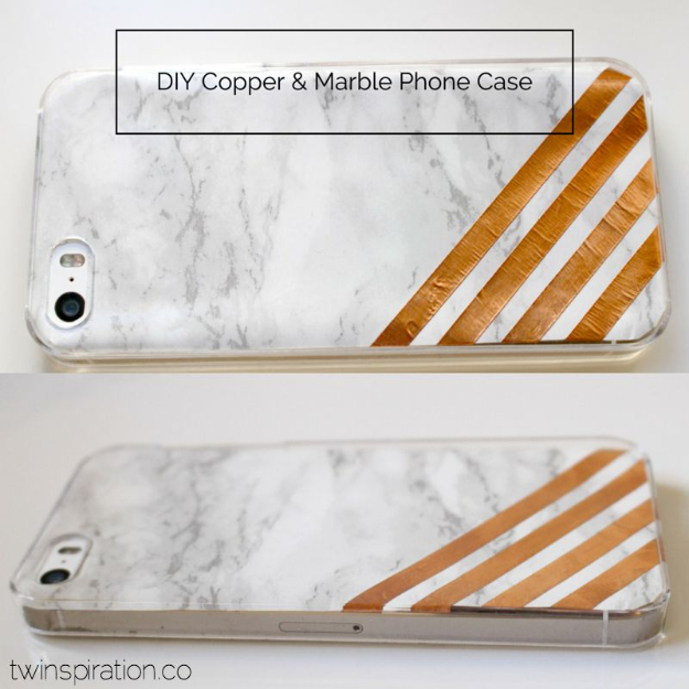 DIY Faux Marble Ideas - DIY Copper And Marble Phone Case - Easy Crafts and DIY Projects With Faux Marbling Tutorials - Paint and Decorate Home Decor, Creative DIY Gifts and Office Accessories