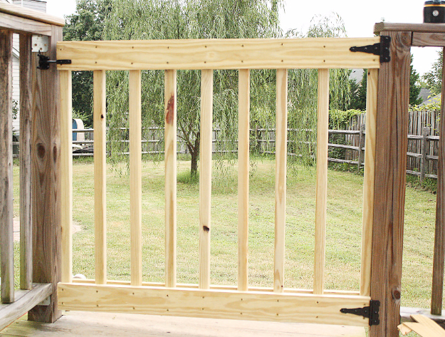 DIY Fences and Gates - DIY Deck Stair Gate - How To Make Easy Fence and Gate Project for Backyard and Home - Step by Step Tutorial and Ideas for Painting, Updating and Making Fences and DIY Gate - Cool Outdoors and Yard Projects