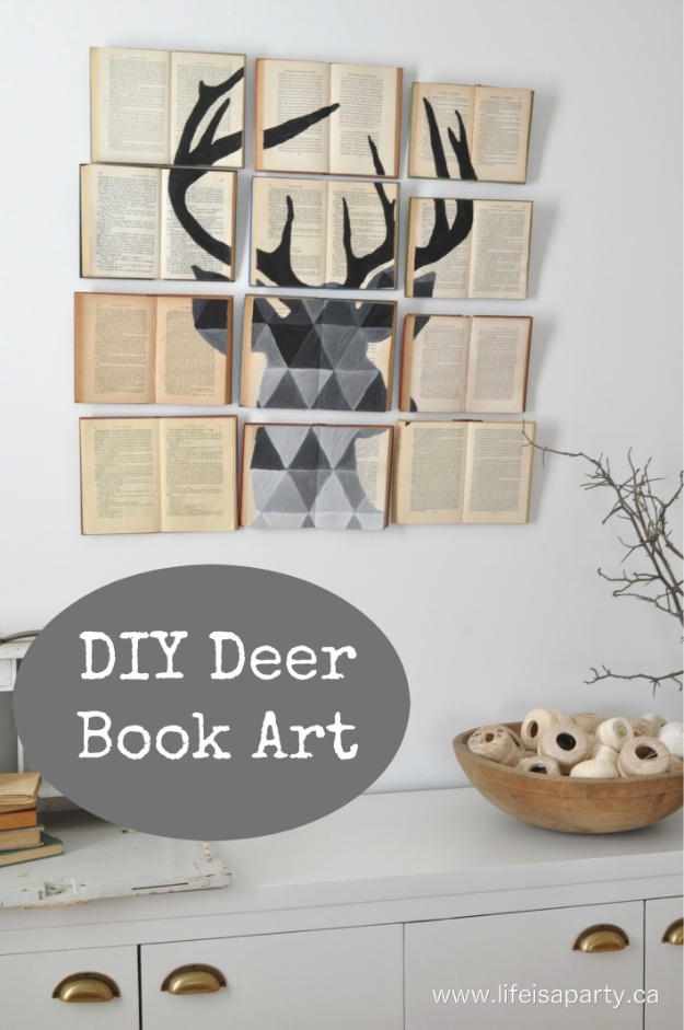DIY Projects Made With Old Books - DIY Deer Book Art - Make DIY Gifts, Crafts and Home Decor With Old Book Pages and Hardcover and Paperbacks - Easy Shelving, Decorations, Wall Art and Centerpieces with BOOKS