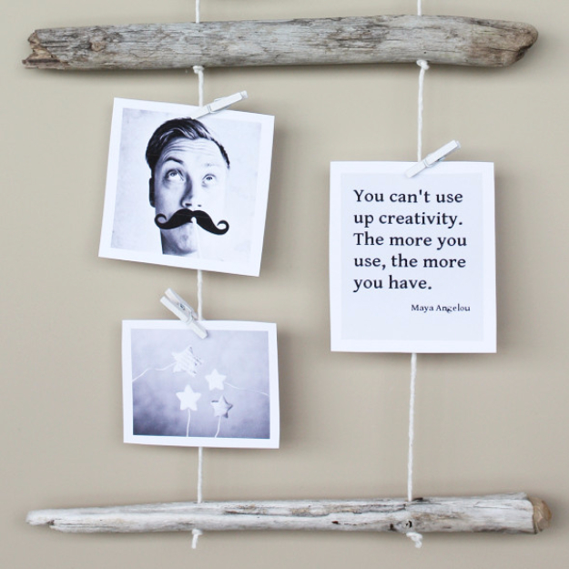 DIY Photo Crafts and Projects for Pictures - DIY Driftwood Photo Display - Handmade Picture Frame Ideas and Step by Step Tutorials for Making Cool DIY Gifts and Home Decor - Cheap and Easy Photo Frames, Creative Ways to Frame and Mount Photos on Canvas and Display Them In Your House http://diyjoy.com/handmade-photo-crafts