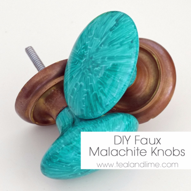 DIY Sharpie Crafts - DIY Faux Malachite Knobs - Cool and Easy Craft Projects and DIY Ideas Using Sharpies - Use Markers To Decorate and Design Home Decor, Cool Homemade Gifts, T-Shirts, Shoes and Wall Art. Creative Project Tutorials for Teens, Kids and Adults http://diyjoy.com/diy-sharpie-crafts