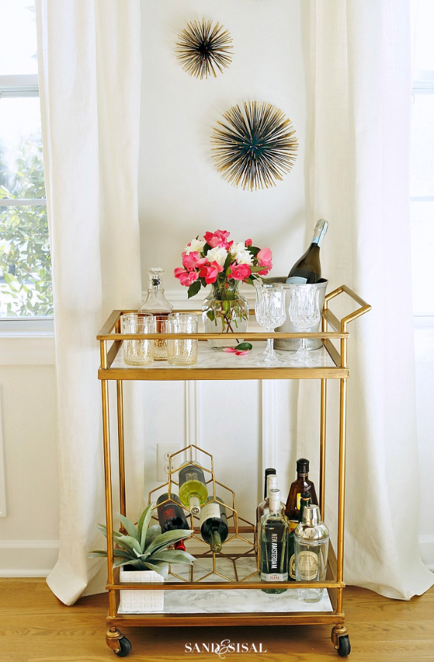 DIY Faux Marble Ideas - DIY Faux Marble Bar Cart Makeover - Easy Crafts and DIY Projects With Faux Marbling Tutorials - Paint and Decorate Home Decor, Creative DIY Gifts and Office Accessories