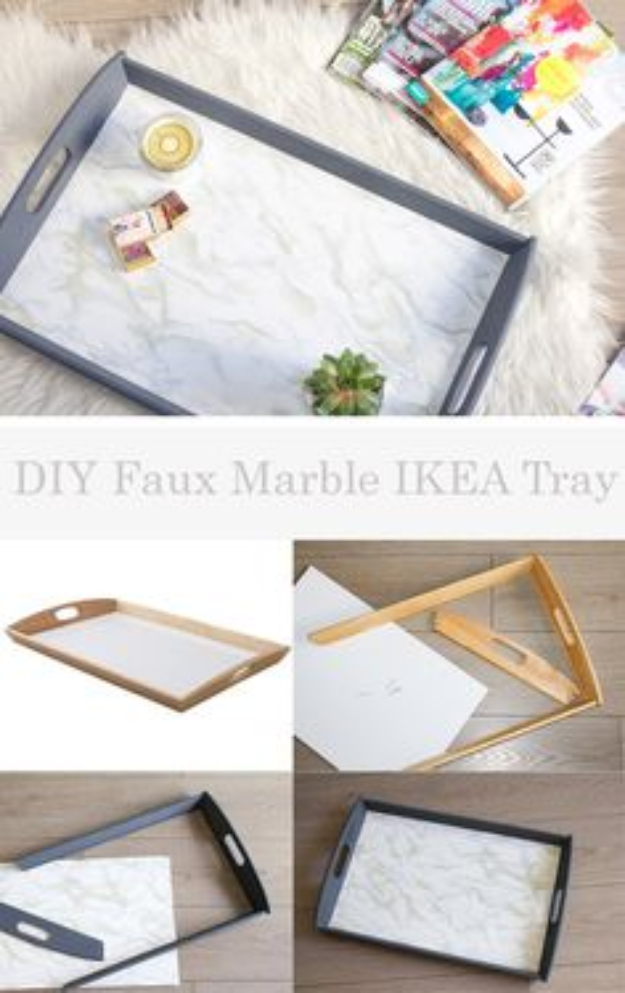 DIY Faux Marble Ideas - DIY Faux Marble IKEA Tray - Easy Crafts and DIY Projects With Faux Marbling Tutorials - Paint and Decorate Home Decor, Creative DIY Gifts and Office Accessories