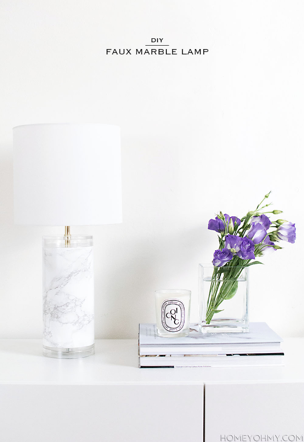DIY Faux Marble Ideas - DIY Faux Marble Lamp - Easy Crafts and DIY Projects With Faux Marbling Tutorials - Paint and Decorate Home Decor, Creative DIY Gifts and Office Accessories