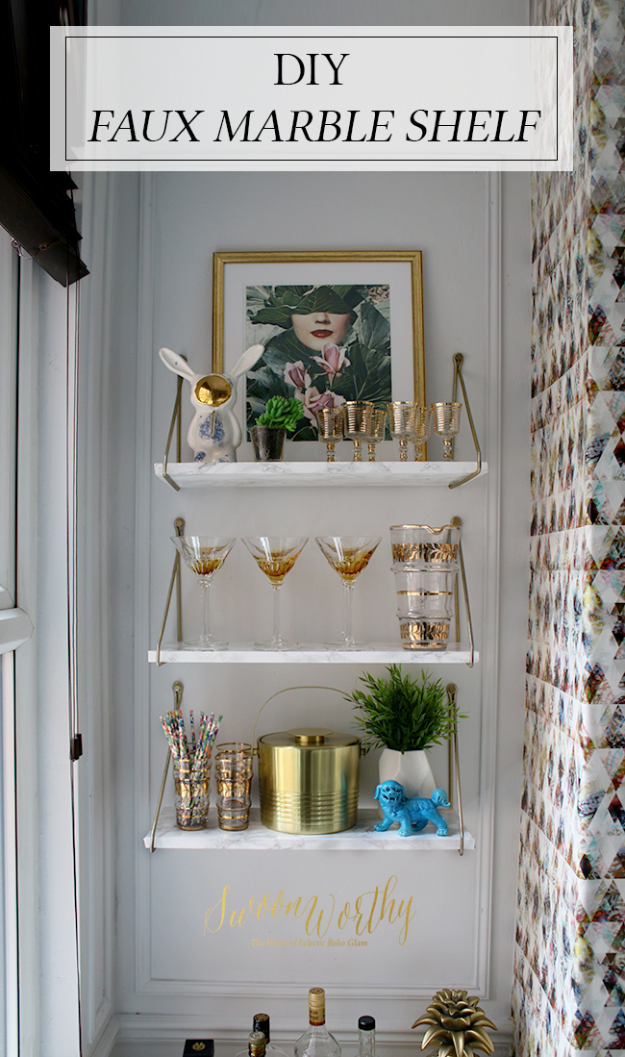 DIY Faux Marble Ideas - DIY Faux Marble Shelf - Easy Crafts and DIY Projects With Faux Marbling Tutorials - Paint and Decorate Home Decor, Creative DIY Gifts and Office Accessories http://diyjoy.com/diy-ideas-faux-marble