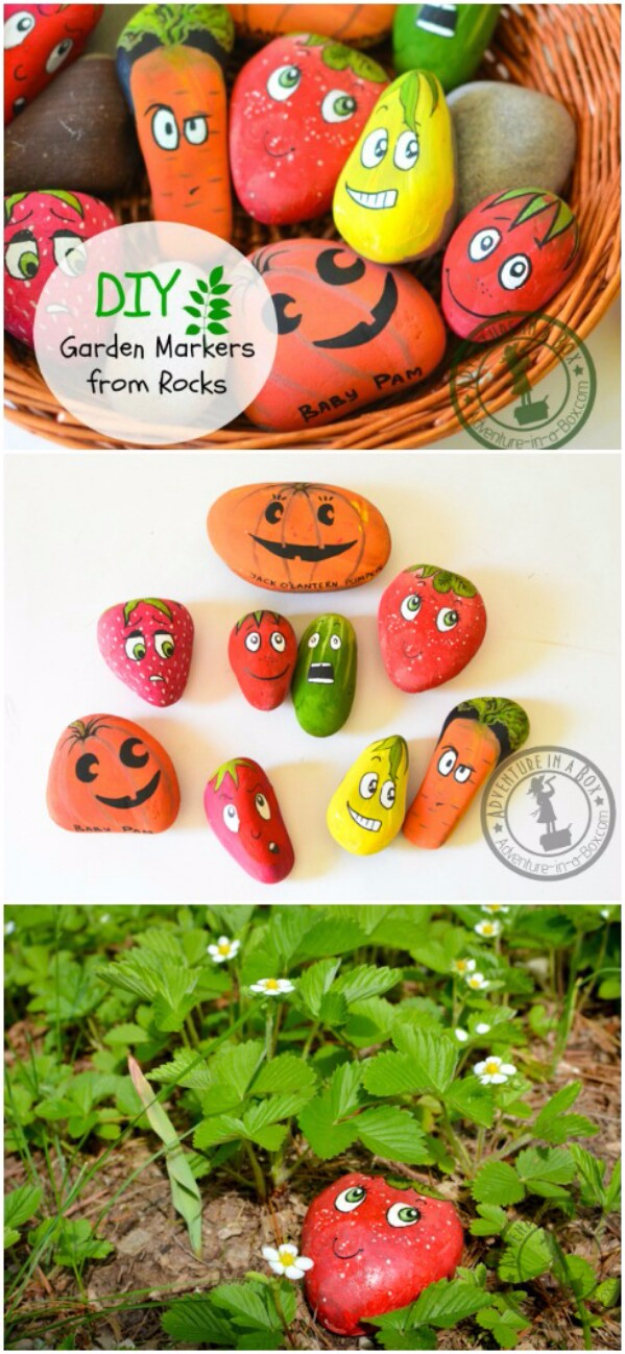 Pebble and Stone Crafts - DIY Garden Markers From Rocks - DIY Ideas Using Rocks, Stones and Pebble Art - Mosaics, Craft Projects, Home Decor, Furniture and DIY Gifts You Can Make On A Budget #crafts