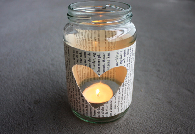 DIY Projects Made With Old Books - DIY Glass Jar Tea Light Holder - Make DIY Gifts, Crafts and Home Decor With Old Book Pages and Hardcover and Paperbacks - Easy Shelving, Decorations, Wall Art and Centerpieces with BOOKS
