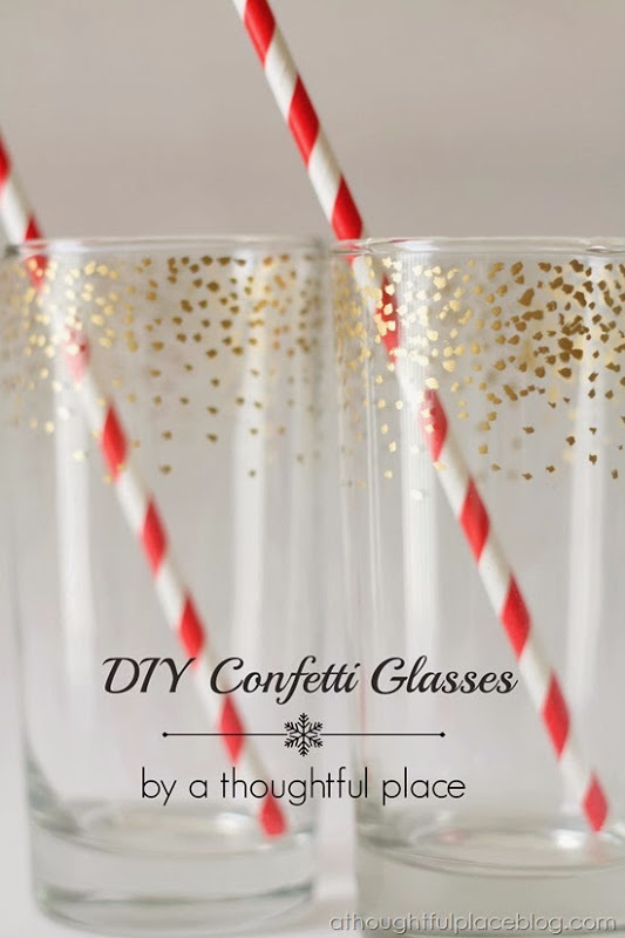 DIY Sharpie Crafts - DIY Gold Confetti Dot Glass - Cool and Easy Craft Projects and DIY Ideas Using Sharpies - Use Markers To Decorate and Design Home Decor, Cool Homemade Gifts, T-Shirts, Shoes and Wall Art. Creative Project Tutorials for Teens, Kids and Adults http://diyjoy.com/diy-sharpie-crafts
