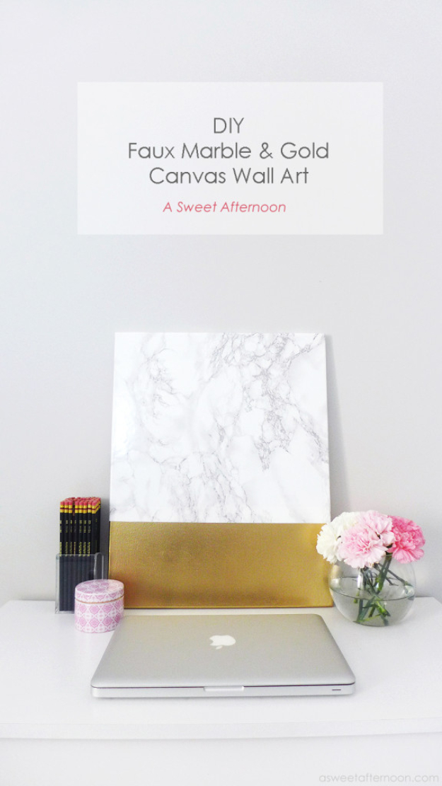 DIY Faux Marble Ideas - DIY Marble And Gold Abstract Wall Art - Easy Crafts and DIY Projects With Faux Marbling Tutorials - Paint and Decorate Home Decor, Creative DIY Gifts and Office Accessories