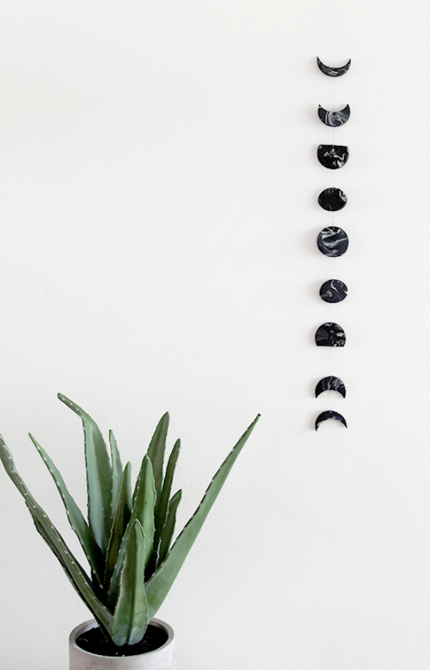 DIY Faux Marble Ideas - DIY Marble Moon Phase Wall Hanging - Easy Crafts and DIY Projects With Faux Marbling Tutorials - Paint and Decorate Home Decor, Creative DIY Gifts and Office Accessories