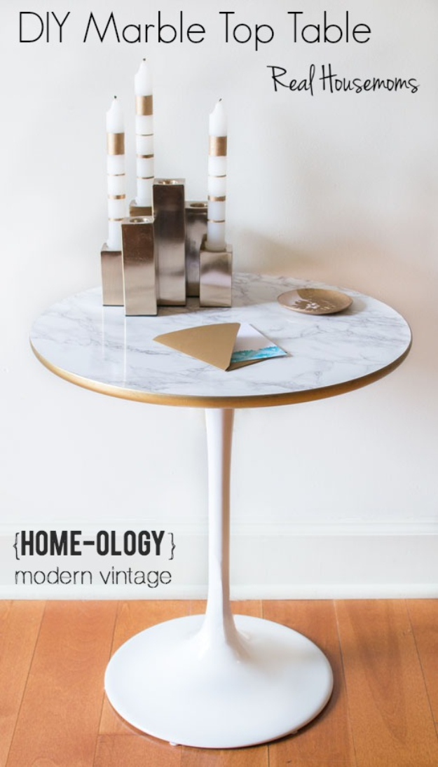 DIY Faux Marble Ideas - DIY Marble Top Table - Easy Crafts and DIY Projects With Faux Marbling Tutorials - Paint and Decorate Home Decor, Creative DIY Gifts and Office Accessories