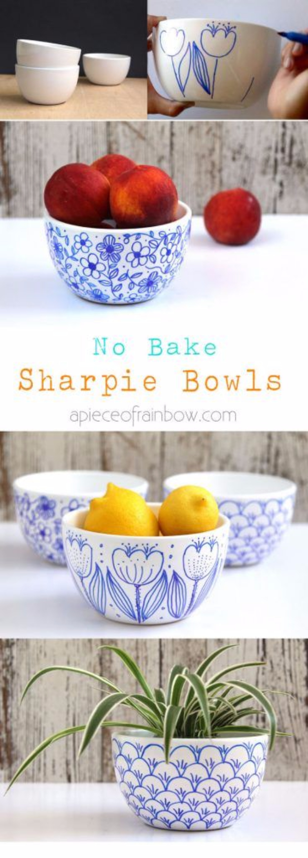 DIY Sharpie Crafts - DIY No Bake Sharpie Art Bowls - Cool and Easy Craft Projects and DIY Ideas Using Sharpies - Use Markers To Decorate and Design Home Decor, Cool Homemade Gifts, T-Shirts, Shoes and Wall Art. Creative Project Tutorials for Teens, Kids and Adults http://diyjoy.com/diy-sharpie-crafts