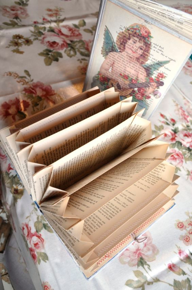 DIY Projects Made With Old Books - DIY Old Book Accordion Organizer - Make DIY Gifts, Crafts and Home Decor With Old Book Pages and Hardcover and Paperbacks - Easy Shelving, Decorations, Wall Art and Centerpices with BOOKS http://diyjoy.com/diy-projects-old-books