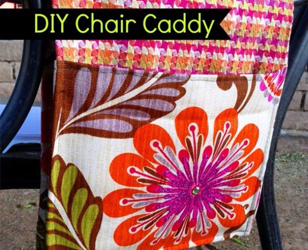 Sewing Projects for The Patio - DIY Outdoor Chair Caddy - Step by Step Instructions and Free Patterns for Cushions, Pillows, Seating, Sofa and Outdoor Patio Decor - Easy Sewing Tutorials for Beginners - Creative and Cheap Outdoor Ideas for Those Who Love to Sew - DIY Projects and Crafts by DIY JOY http://diyjoy.com/sewing-projects-patio