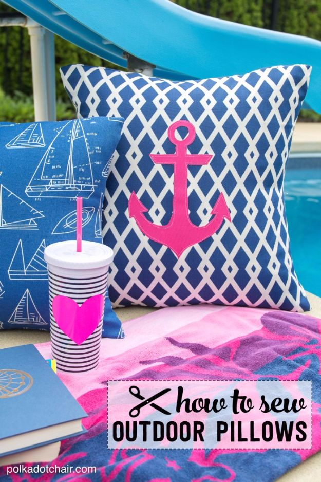 Sewing Projects for The Patio - DIY Outdoor Nautical Pillows - Step by Step Instructions and Free Patterns for Cushions, Pillows, Seating, Sofa and Outdoor Patio Decor - Easy Sewing Tutorials for Beginners - Creative and Cheap Outdoor Ideas for Those Who Love to Sew - DIY Projects and Crafts by DIY JOY http://diyjoy.com/sewing-projects-patio