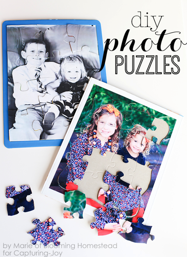 DIY Photo Crafts and Projects for Pictures - DIY Photo Puzzles - Handmade Picture Frame Ideas and Step by Step Tutorials for Making Cool DIY Gifts and Home Decor - Cheap and Easy Photo Frames, Creative Ways to Frame and Mount Photos on Canvas and Display Them In Your House http://diyjoy.com/handmade-photo-crafts