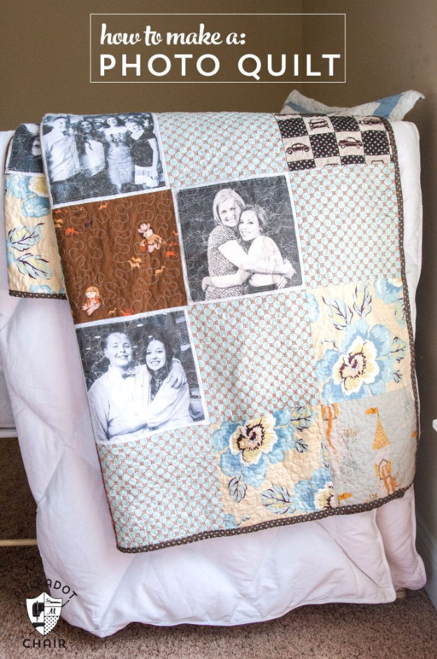 DIY Photo Crafts and Projects for Pictures - DIY Photo Quilt - Handmade Picture Frame Ideas and Step by Step Tutorials for Making Cool DIY Gifts and Home Decor - Cheap and Easy Photo Frames, Creative Ways to Frame and Mount Photos on Canvas and Display Them In Your House http://diyjoy.com/handmade-photo-crafts