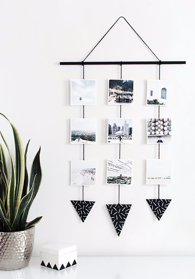 DIY Photo Crafts and Projects for Pictures - DIY Photo Wall Hanging - Handmade Picture Frame Ideas and Step by Step Tutorials for Making Cool DIY Gifts and Home Decor - Cheap and Easy Photo Frames, Creative Ways to Frame and Mount Photos on Canvas and Display Them In Your House http://diyjoy.com/handmade-photo-crafts
