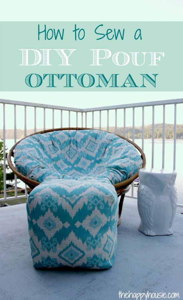 Sewing Projects for The Patio - DIY Pouf Ottoman - Step by Step Instructions and Free Patterns for Cushions, Pillows, Seating, Sofa and Outdoor Patio Decor - Easy Sewing Tutorials for Beginners - Creative and Cheap Outdoor Ideas for Those Who Love to Sew - DIY Projects and Crafts by DIY JOY http://diyjoy.com/sewing-projects-patio