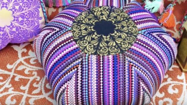 Sewing Projects for The Patio - DIY Rag Rug Pouf - Step by Step Instructions and Free Patterns for Cushions, Pillows, Seating, Sofa and Outdoor Patio Decor - Easy Sewing Tutorials for Beginners - Creative and Cheap Outdoor Ideas for Those Who Love to Sew - DIY Projects and Crafts by DIY JOY #diydecor #diyhomedecor #sewing