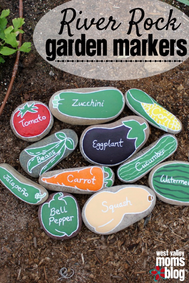 Pebble and Stone Crafts - DIY River Rock Garden Markers - DIY Ideas Using Rocks, Stones and Pebble Art - Mosaics, Craft Projects, Home Decor, Furniture and DIY Gifts You Can Make On A Budget #crafts