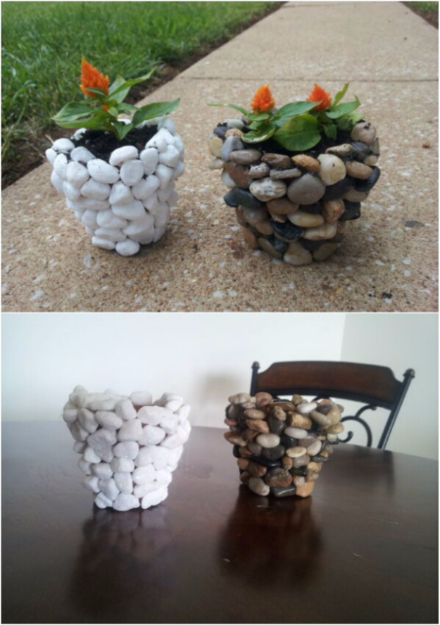 Pebble and Stone Crafts - DIY River Stone Planter - DIY Ideas Using Rocks, Stones and Pebble Art - Mosaics, Craft Projects, Home Decor, Furniture and DIY Gifts You Can Make On A Budget #crafts
